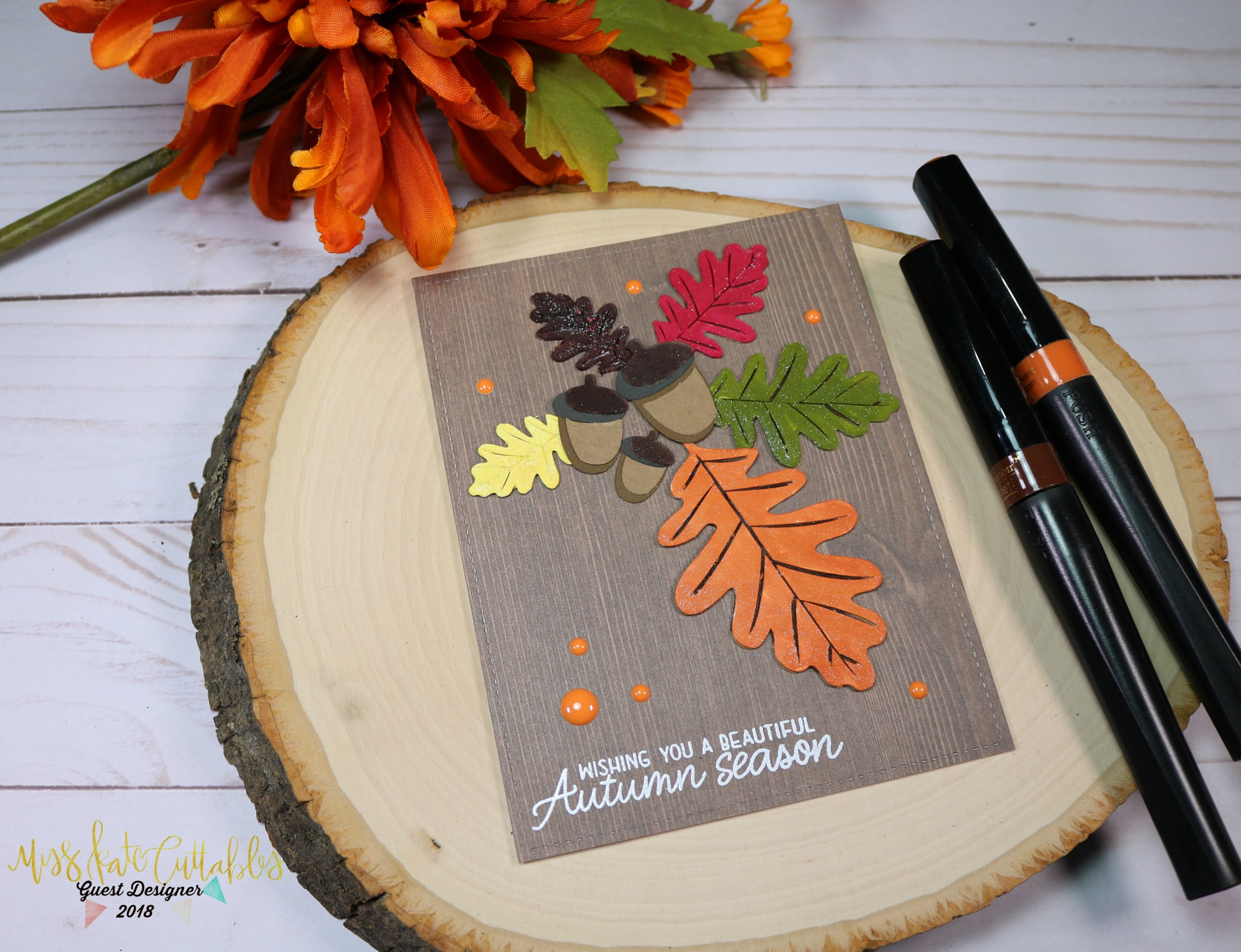 Miss Kate Cuttables SVG file Oak Leaves colored with Spectrum Noir Sparkle Marker Fall inspired card created with Cricut Explorer.